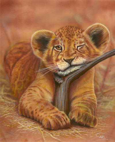 Lion Cub painting by Carl Thompson
